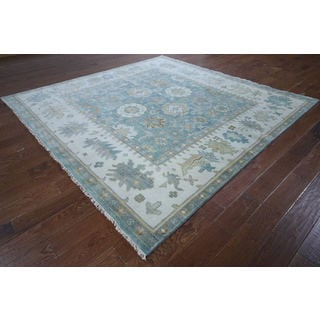 Oushak Oriental Blue Wool Hand-knotted Rug (8'1 x 8')
