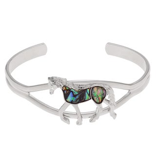 Journee Collection Silvertone Paua Shell Prancing Horse Cuff Bracelet