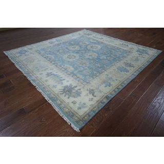 Blue Wool Hand-knotted Oushak Oriental Rug (7'11 x 8'2)