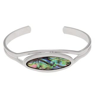 Journee Collection Silvertone Oval Shaped Paua Shell Cuff Bracelet