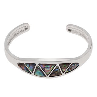 Journee Collection Silvertone Paua Shell Triangles Cuff Bracelet