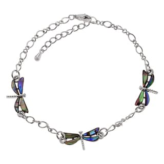 Journee Collection Silvertone Paua Shell Dragonfly Ankle Bracelet