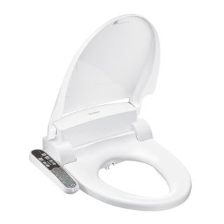 SmartBidet White Electric Bidet Seat with Attached Control Panel for Elongated Toilets