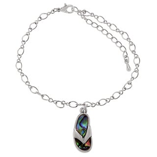 Journee Collection Silvertone Paua Shell Flip-flop Ankle Bracelet