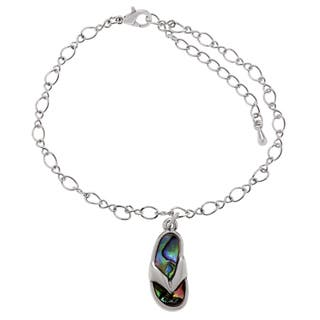 Journee Collection Silvertone Paua Shell Flip-flop Ankle Bracelet|https://ak1.ostkcdn.com/images/products/12095572/P18959044.jpg?impolicy=medium