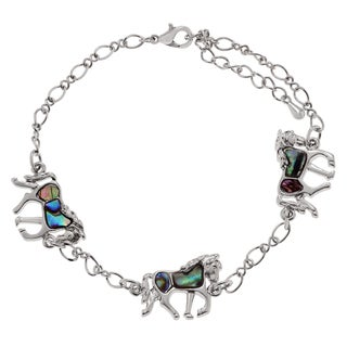 Journee Collection Silvertone Paua Shell Horse Link Anklet
