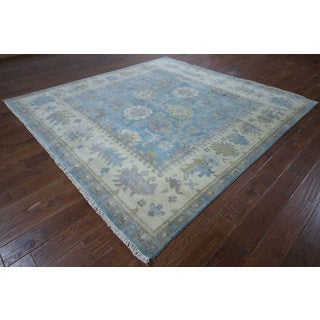 Blue Wool Oriental Oushak Hand-knotted Rug (7'11 x 8'1)