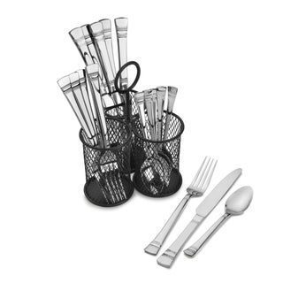 Pfallzgraff Kensington Stainless Steel Flatware Set with Three-cyclinder Wire Caddy