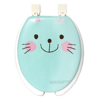 Happy Seat Cat Soft Padded Round Toilet Seat with Plastic Hinges
