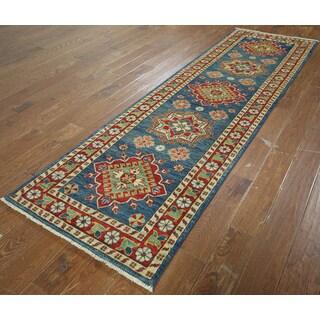 Hand-knotted Oriental Kazak Blue Wool Rug (2'9 x 9'4)