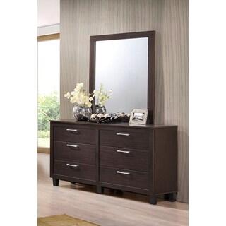 LYKE Home Bianca Walnut Veneer Dresser-Mirror Combo