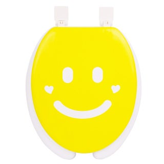 Happy Seat Smile Soft-padded Round Toilet Seat with Plastic Hinges