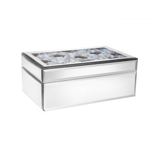 Allure by Jay Mirror Clear Plastic Jewelry Box with Multicolored Lid