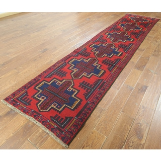 Hand-knotted Oriental Baluch Red Wool on Wool Rug (2' 7 x 12' 6)