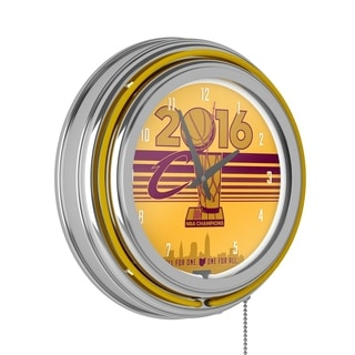 Cleveland Cavaliers 2016 NBA Chamipons Chrome Double Rung Neon Clock