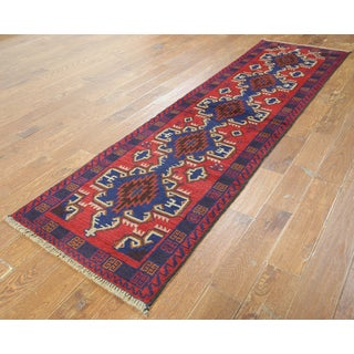 Red Wool Oriental Balouch Hand-knotted Runner Rug (2'6 x 9'9)
