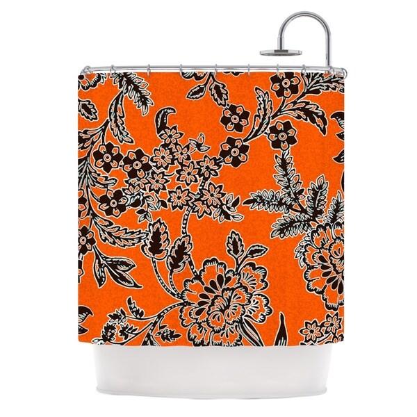 Shop Kess InHouse Vikki Salmela Blossom Orange Black Shower Curtain 69x70