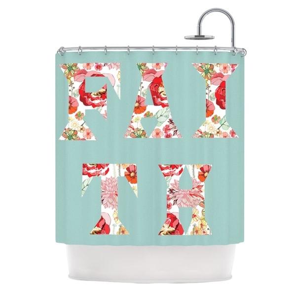 Kess InHouse Suzanne Carter 'FAITH' Blue Red' Shower Curtain (69x70)