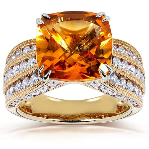 Annello by Kobelli 14k Yellow Gold Cushion Orange Citrine and 1 1/5ct TDW Diamond Multi-Row Channel
