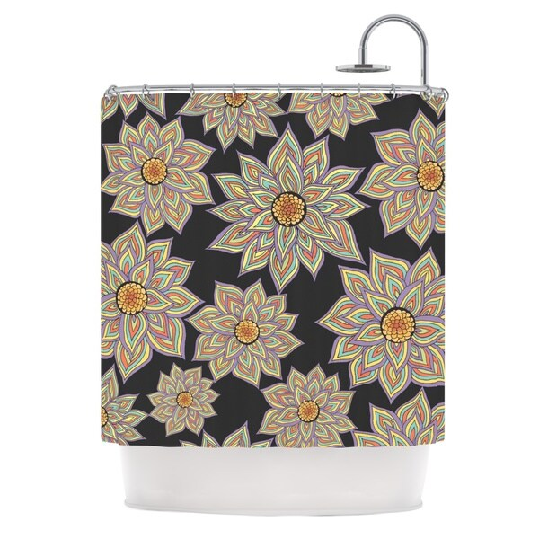 Kess InHouse Pom Graphic Design 'Floral Dance in the Dark' Shower Curtain (69x70)