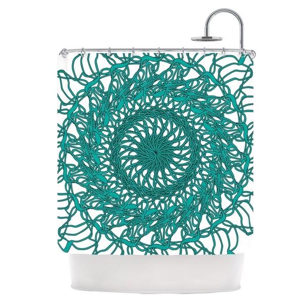 Kess InHouse Patternmuse 'Mandala Spin Jade' Green' Shower Curtain (69x70)