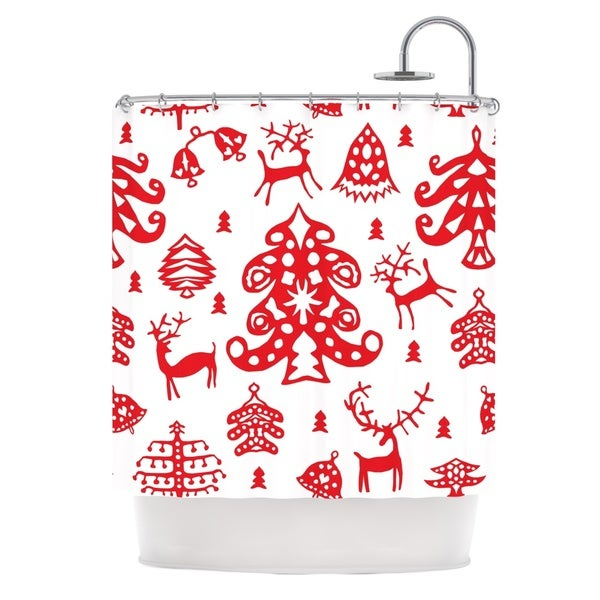 Kess InHouse Miranda Mol 'Frosted Landscape White' Red Holiday' Shower Curtain (69x70)