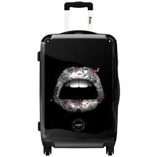 iKase Floral Lips 20-inch Fashion Hardside Carry-on Spinner Suitcase