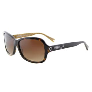 Coach HC 8016 503313 L008 Ciara Dark Tortoise Plastic Rectangle Sunglasses with Brown Gradient Lens