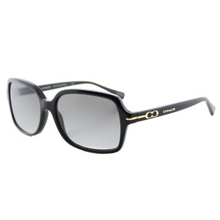 Coach Women's HC 8116 500211 L087 Blair Black Plastic Rectangle Sunglasses with Grey Gradient Lens