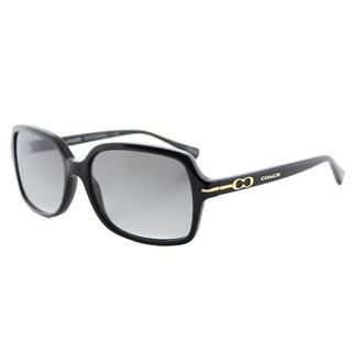 Coach Women's HC 8116 500211 L087 Blair Black Plastic Rectangle Sunglasses with Grey Gradient Lens