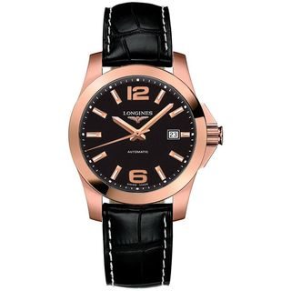 Longines Men's L36768563 'Conquest' 18kt Rose Gold Automatic Black Leather Watch