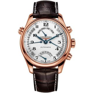 Longines Men's L27178783 'Master Collection' 18kt Rose Gold Retrograde Power Reserve Automatic Brown Leather Watch
