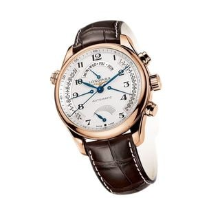 Longines Men's L27168783 'Master Collection' 18kt Rose Gold Retrograde Power Reserve Automatic Brown Leather Watch