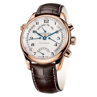 Longines Men's L27158783 'Master Collection' 18kt Rose Gold Automatic Brown Leather Watch