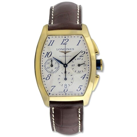 Longines Men's L26436732 'Evidenza' 18kt Yellow Gold Chronograph Automatic Brown Leather Watch