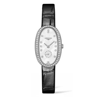 Longines Women's L23060870 'Symphonette' Diamond Black Leather Watch