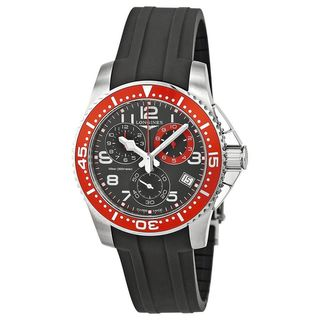 Link to Longines Men's L36904592 'HydroConquest' Chronograph Black Rubber Watch Similar Items in Men's Watches