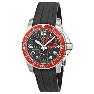 Longines Men's L36904592 'HydroConquest' Chronograph Black Rubber Watch
