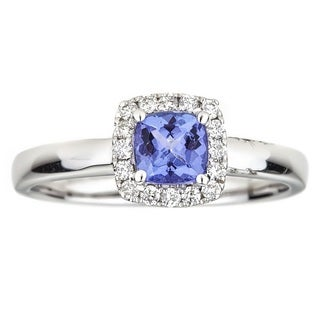 Anika and August 10k White Gold Cushion-cut Tanzanite and Diamond Ring