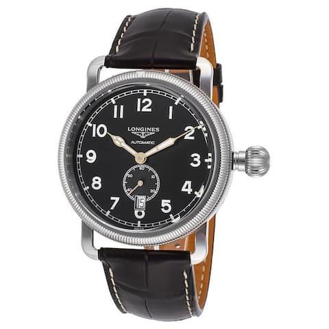 Longines Men's L27774532 'Avigation' Automatic Black Leather Watch