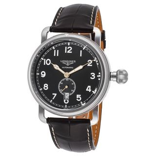 Longines Men's L27774532 'Avigation' Automatic Black Leather Watch