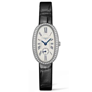 Longines Women's L23060710 'Symphonette' Diamond Black Leather Watch