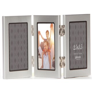 Pinnacle Triple-panel Silver Photo Frame With Thin Black Trim