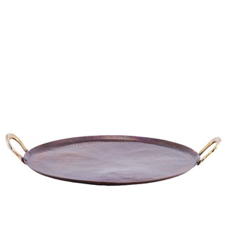 Antique Copper Hammered Round Metal 15.5-inch Tray with Brass Handles