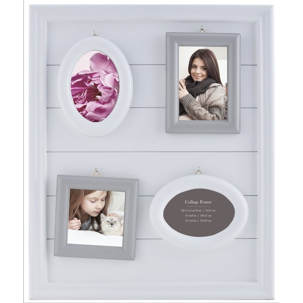Shop Burnes Of Boston White And Grey 4 Piece Hanging Frames Free