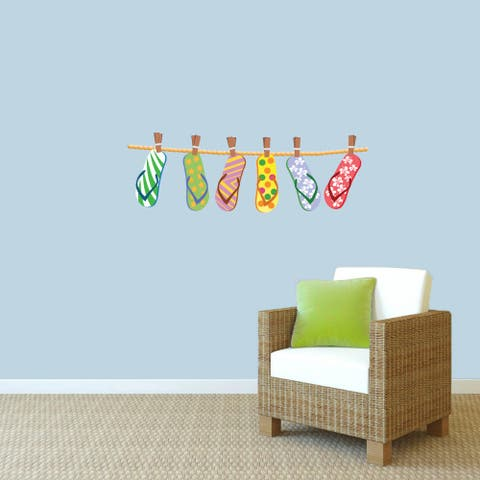 Sweetums 'Hanging Flip-flops' Printed Wall Decal