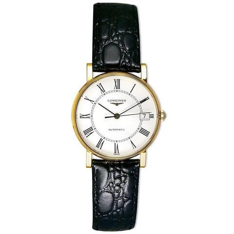 Longines Men's L47446112 'La Grandes Classiques Flagship' 18kt Yellow Gold Black Leather Watch