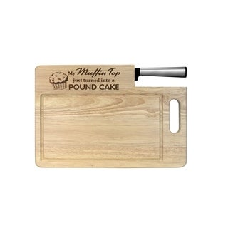"""Ginsu Custom Gift Collection """"Muffin Top/Pound Cake"""" Engraved Cutting Board with Stainless Steel Santoku Knife"""