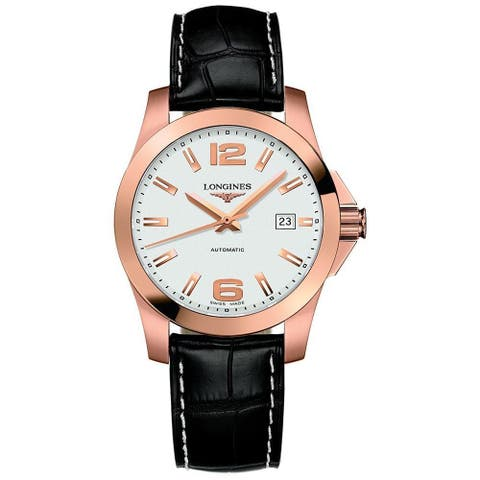 Longines Men's L36768763 'Conquest' 18kt Rose Gold Automatic Black Leather Watch