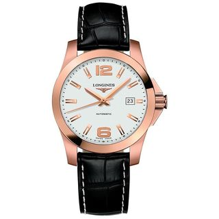 Longines Men's L36768763 'Conquest' 18kt Rose Gold Automatic Black Leather Watch